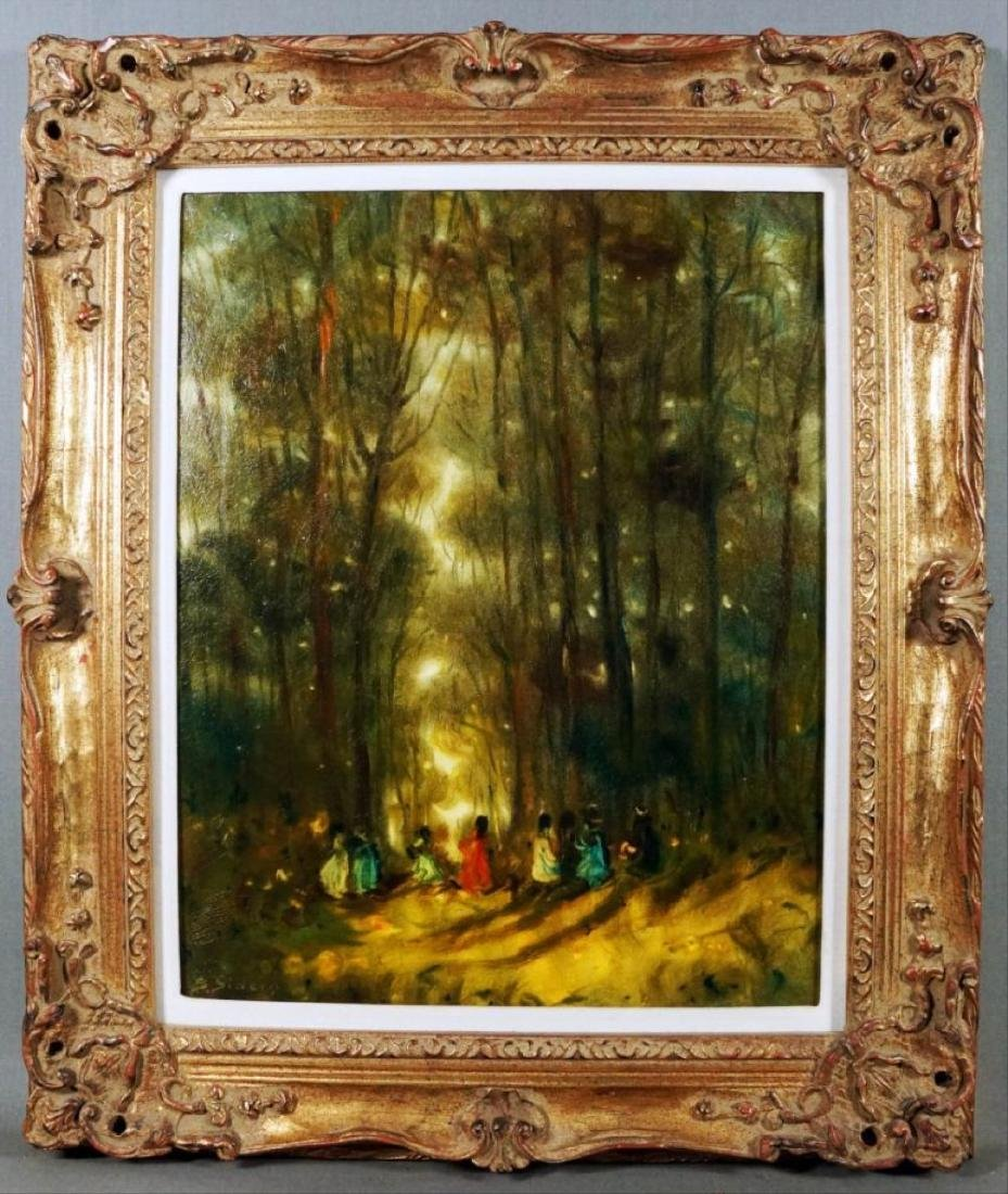 Oil On Canvas Painting Of Figures In The Forest