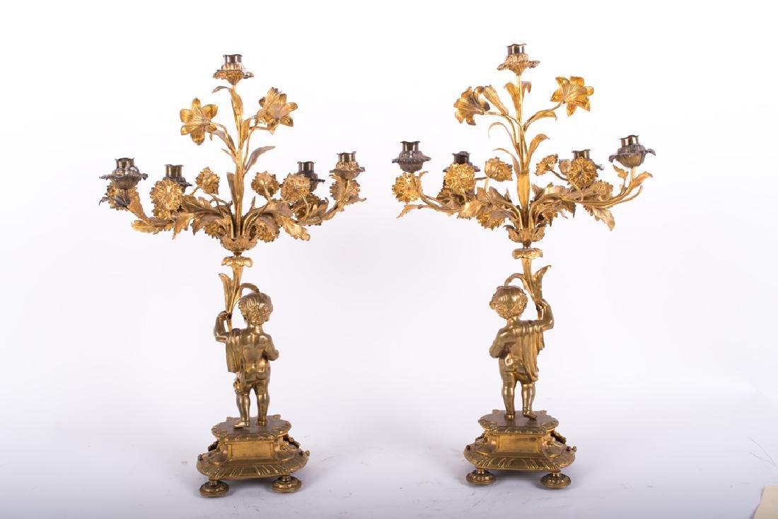 Pair Of Louis Xv Style Gilt Bronze Figural Candelabra - 10