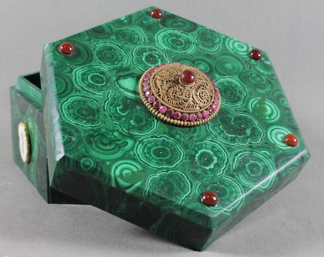 Jewelled Russian Malachite Box - 3