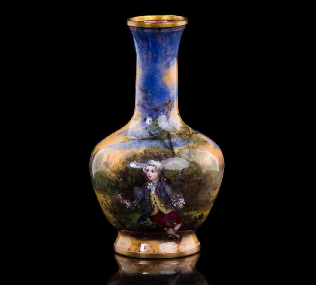 Antique French Enamel Miniature Vase