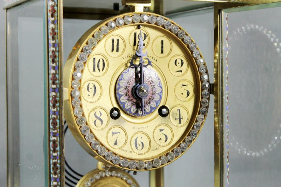 Theodore Starr French Crystal Regulator Mantle Clock, - 3