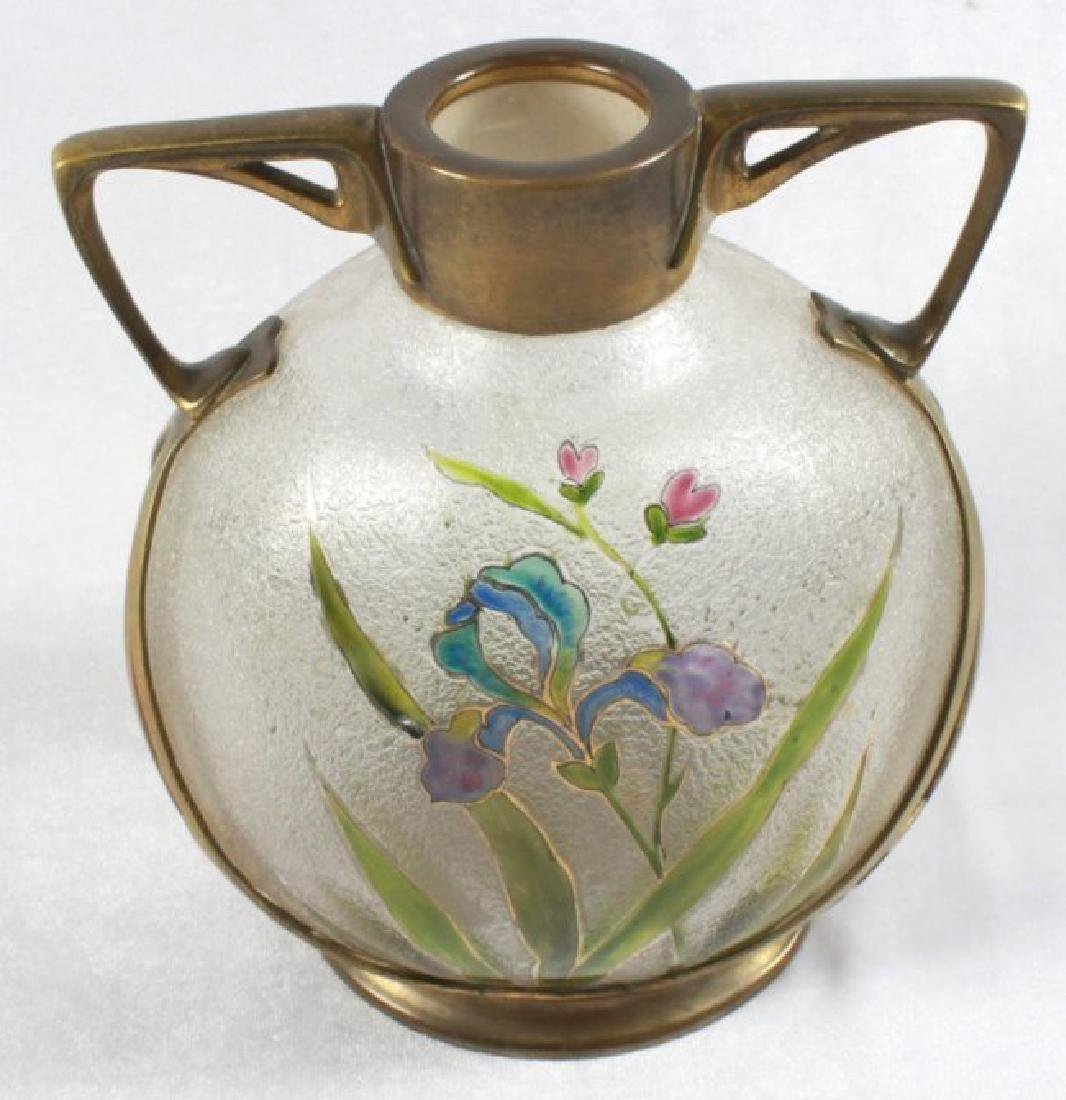 German Art Nouveau Cast Brass Mounted Art Glass Vase - 5