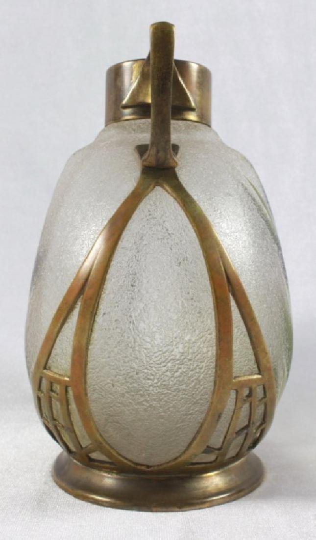 German Art Nouveau Cast Brass Mounted Art Glass Vase - 7