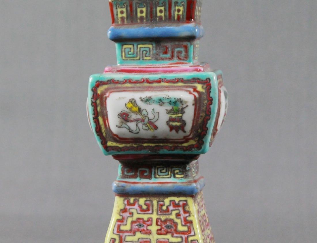 Pair Of Chinese Famile Rose Porcelain Altar Vases - 3
