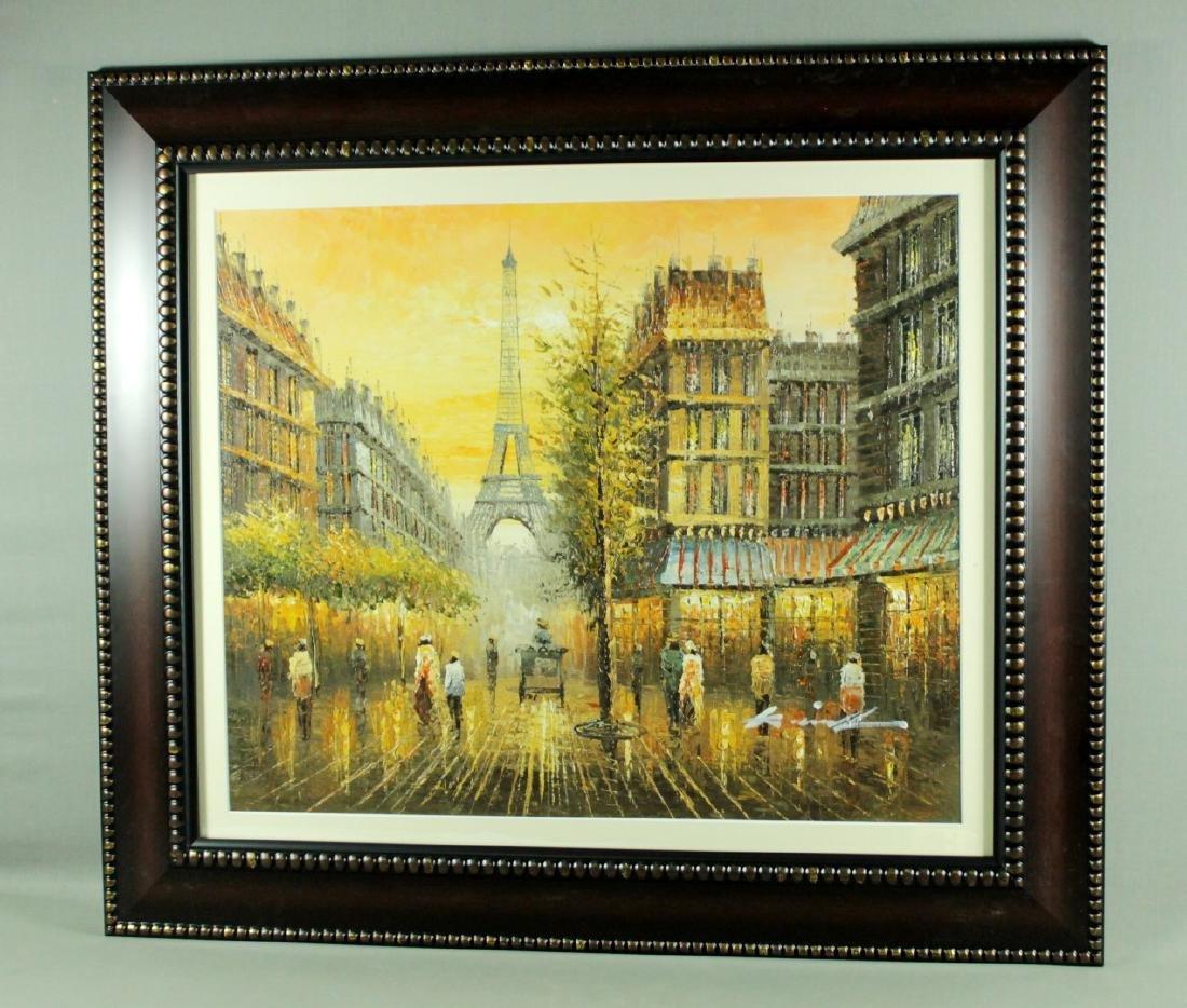Framed Paris Scene Watercolor Signed
