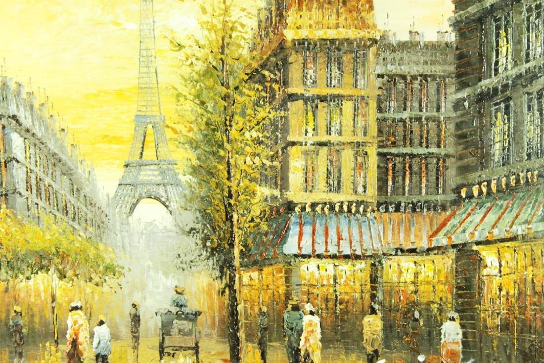 Framed Paris Scene Watercolor Signed - 2