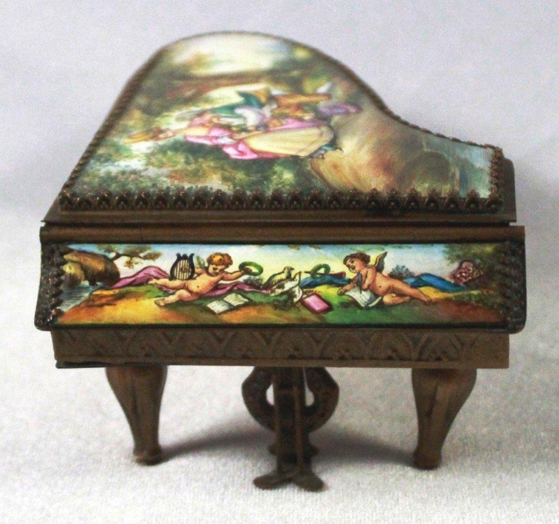 19Th C Viennese Enamel Miniature Piano - 2