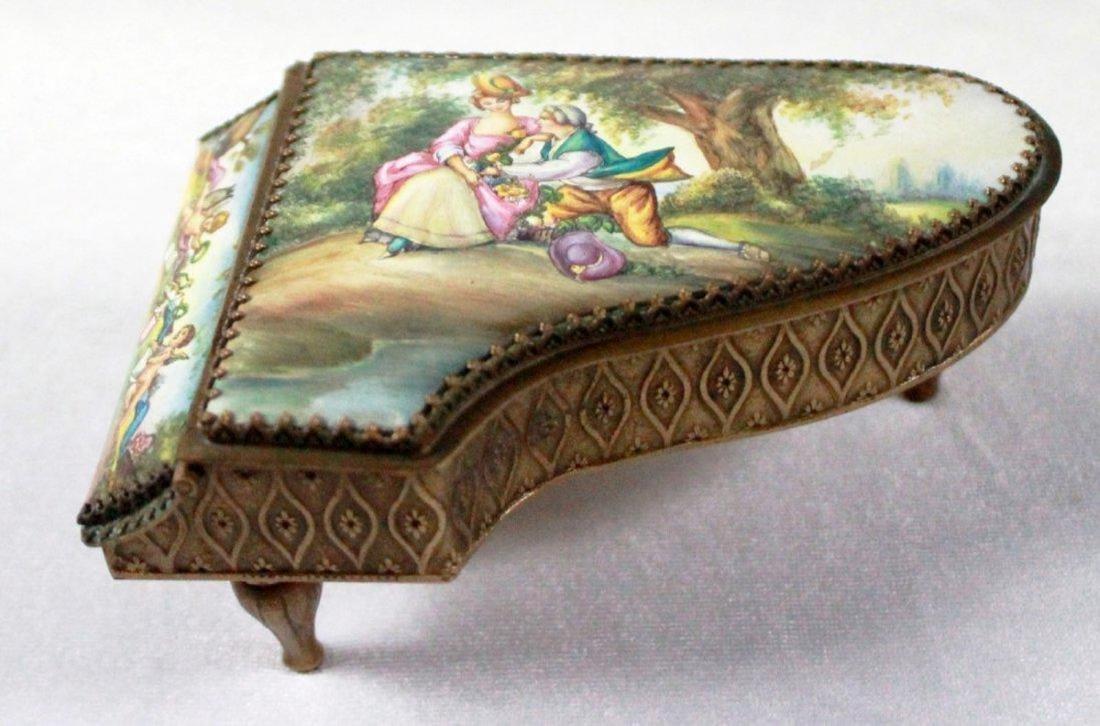 19Th C Viennese Enamel Miniature Piano - 4