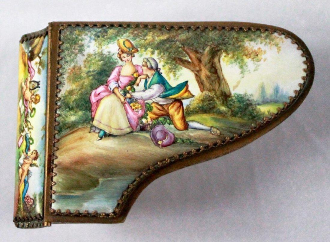 19Th C Viennese Enamel Miniature Piano - 5