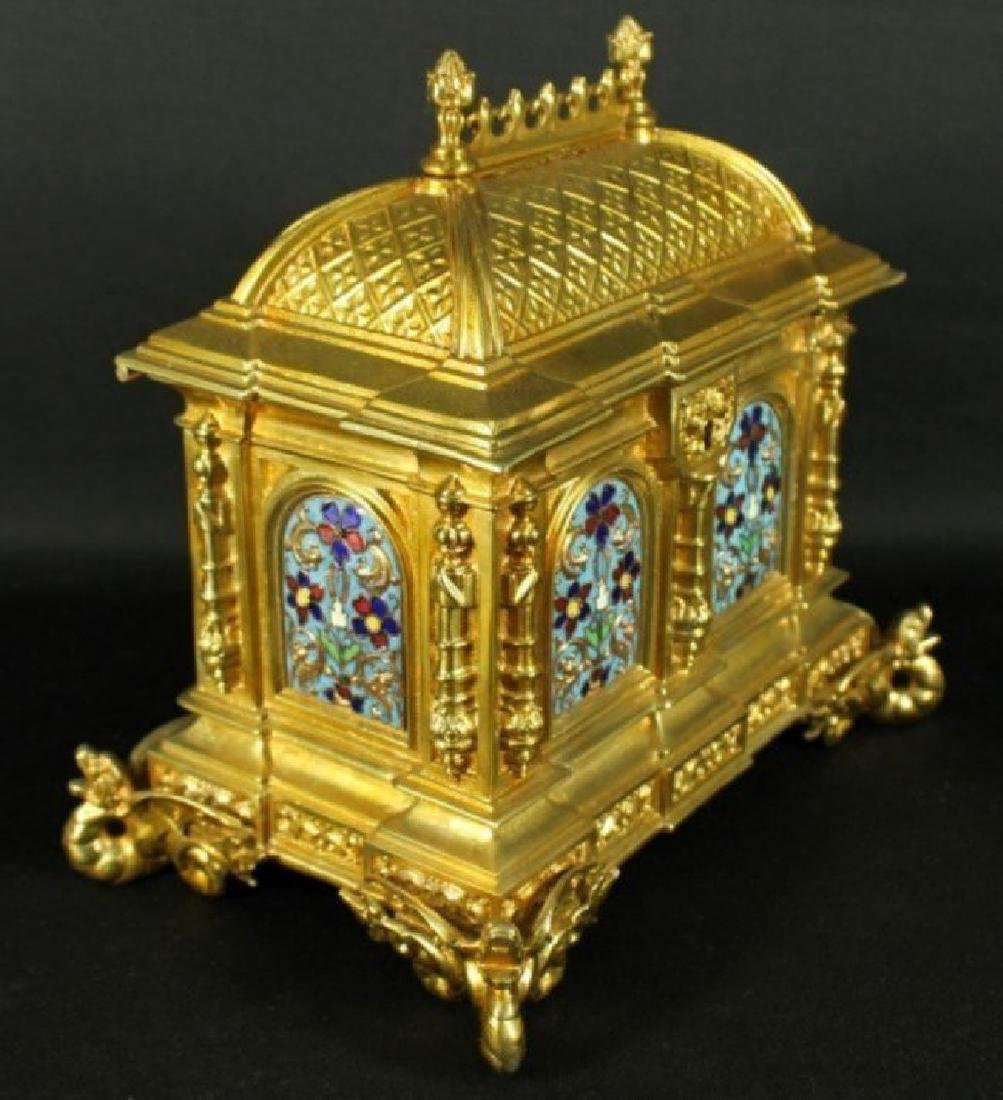 French Champleve Enamel And Bronze Box - 4