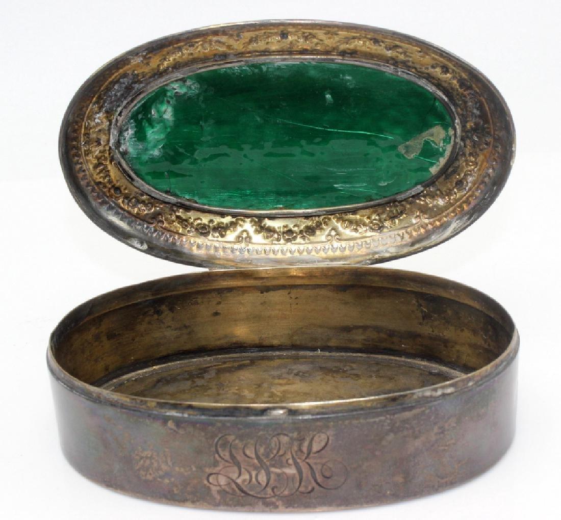 Sterling Silver & Enamel Decorated Trinket Box - 3