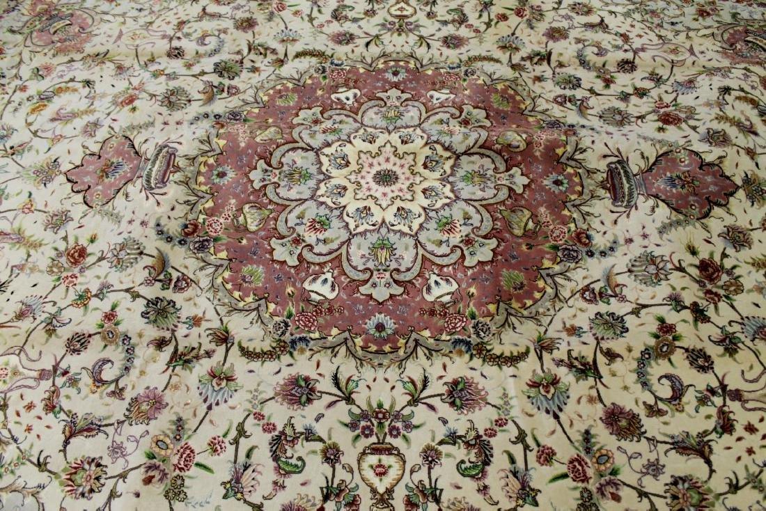 Tabriz Wool Silk Rug Iran - 2