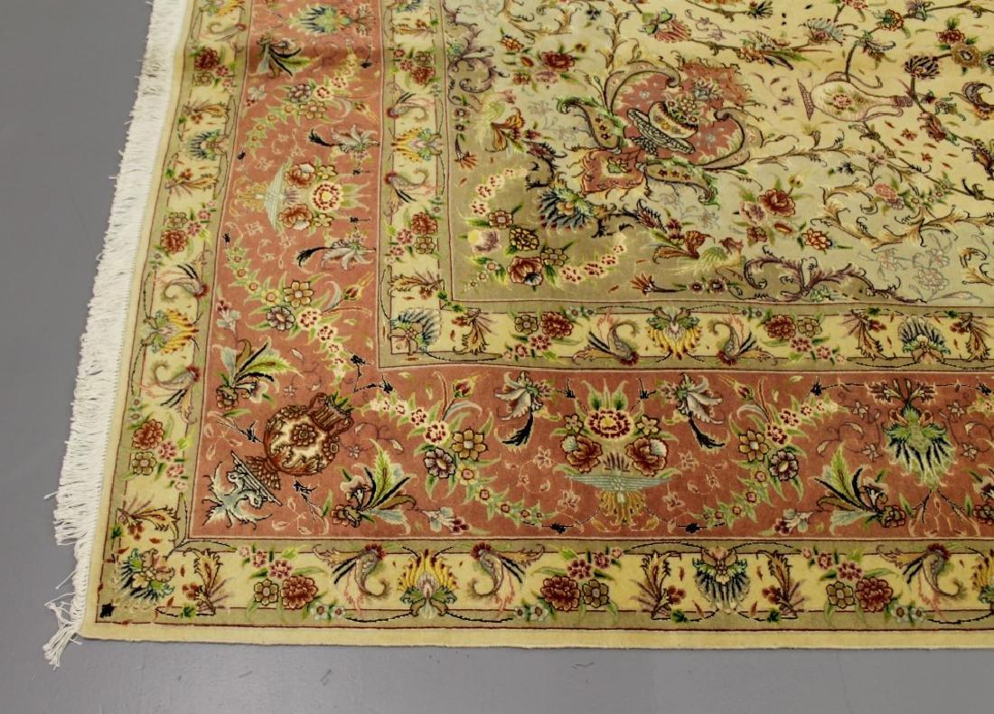 Tabriz Wool Silk Rug Iran - 3