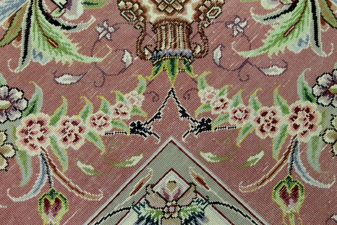Tabriz Wool Silk Rug Iran - 5