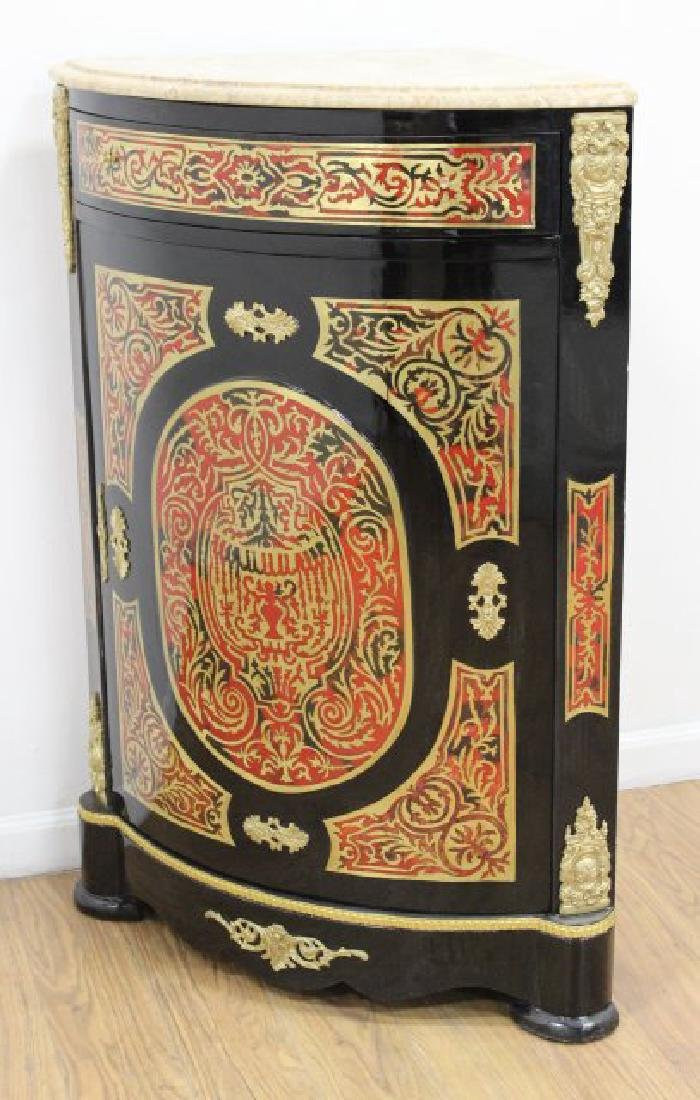 Pair Of Boulle Style Marble Top Corner Cabinets - 2