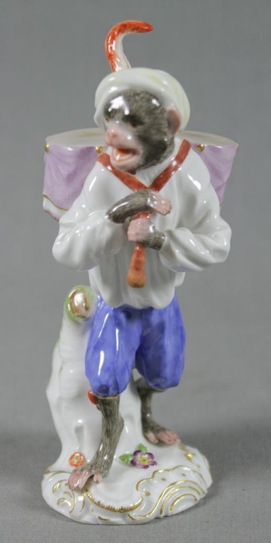19Th C. Meissen Monkey Band Figure Of Drummer