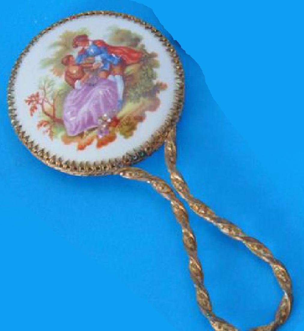 Antique Brass And Enamel Hand Mirror