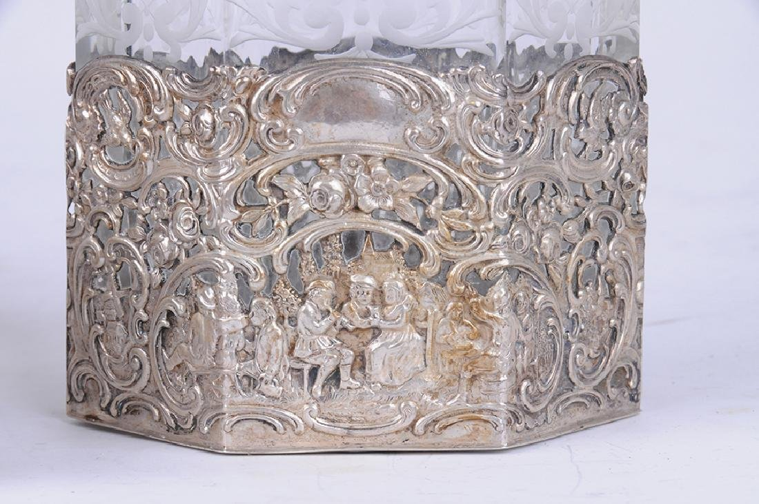 Pair Of Italian .800 Silver & Etched Glass Decanters - 3