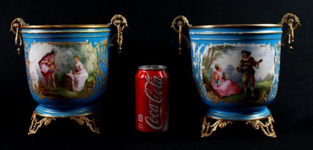 19Th C Sevres Style Pair Of Jardiniere