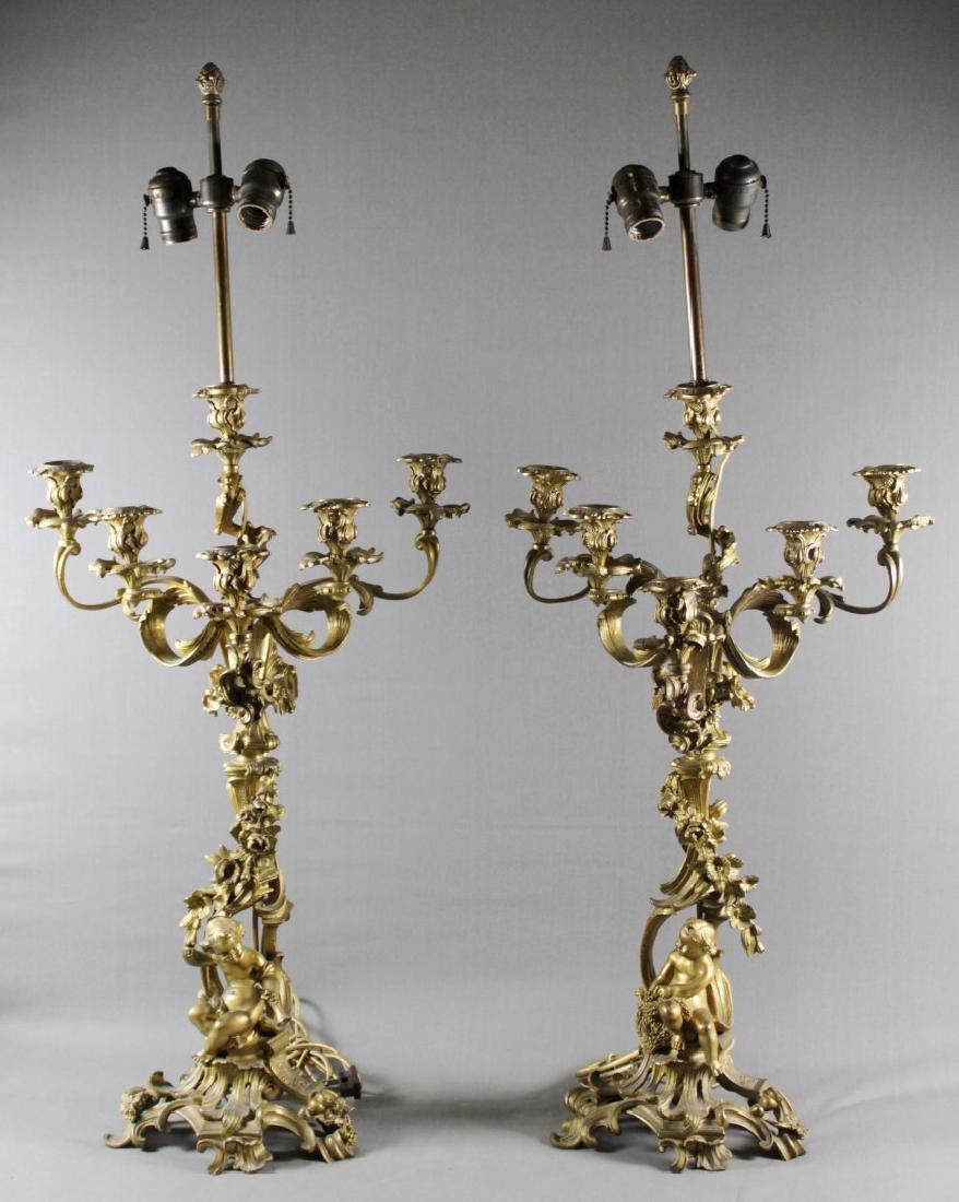 Pair Of Roccoco Style Gilt Bronze Candelabras