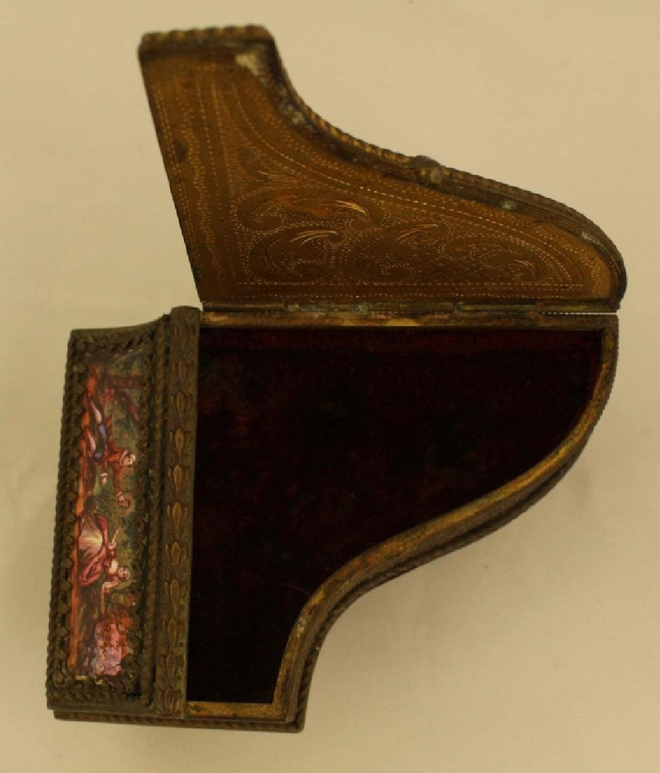 Bronze And Enamel Piano Shaped Box - 2