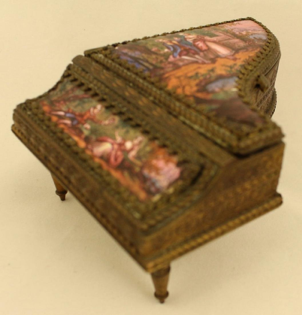 Bronze And Enamel Piano Shaped Box - 3