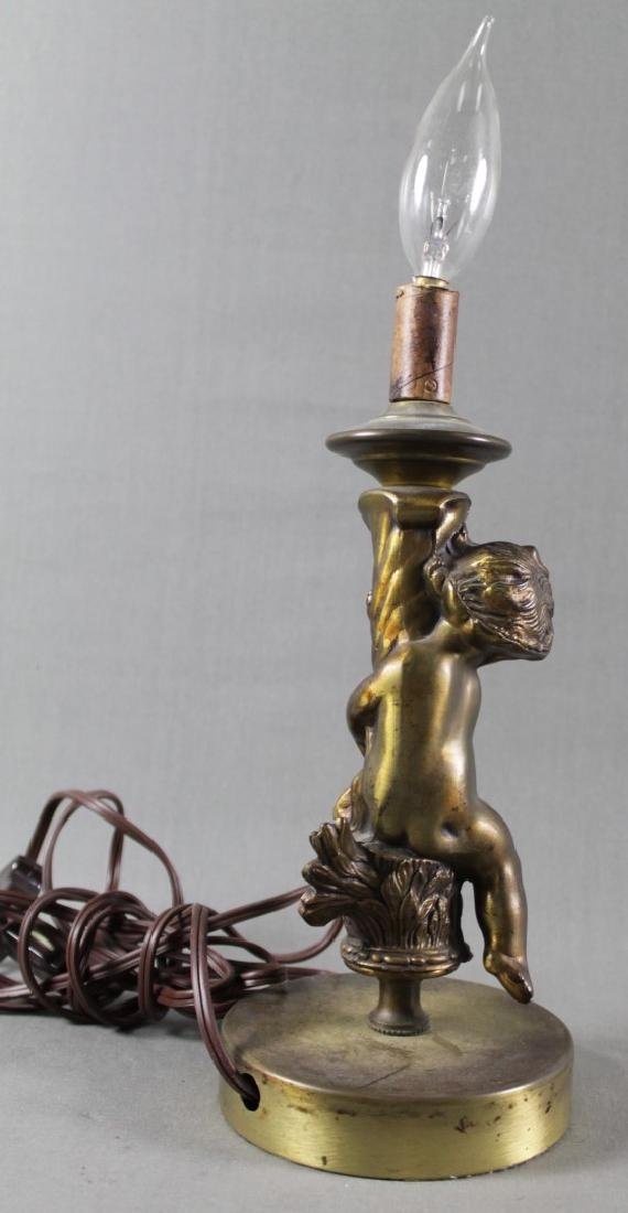 Pair Of Bronze Cherub Lamps - 4