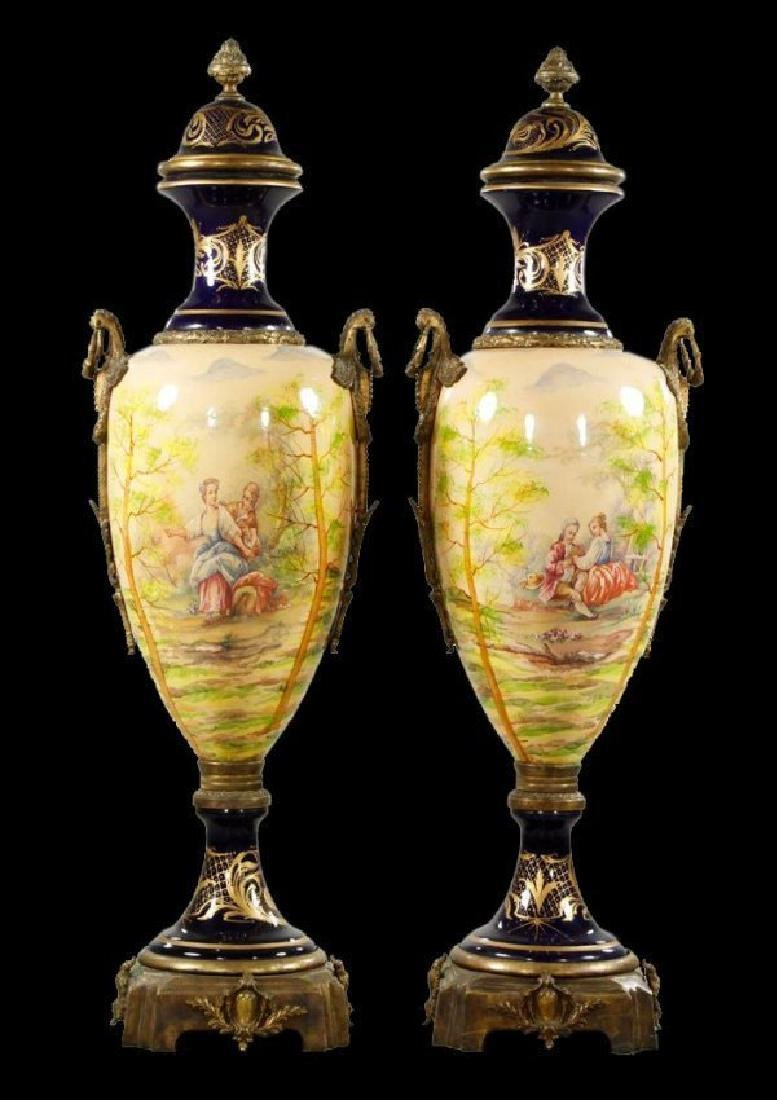 "55"" 20Th C. Pair Of Monumental Urns - 6"