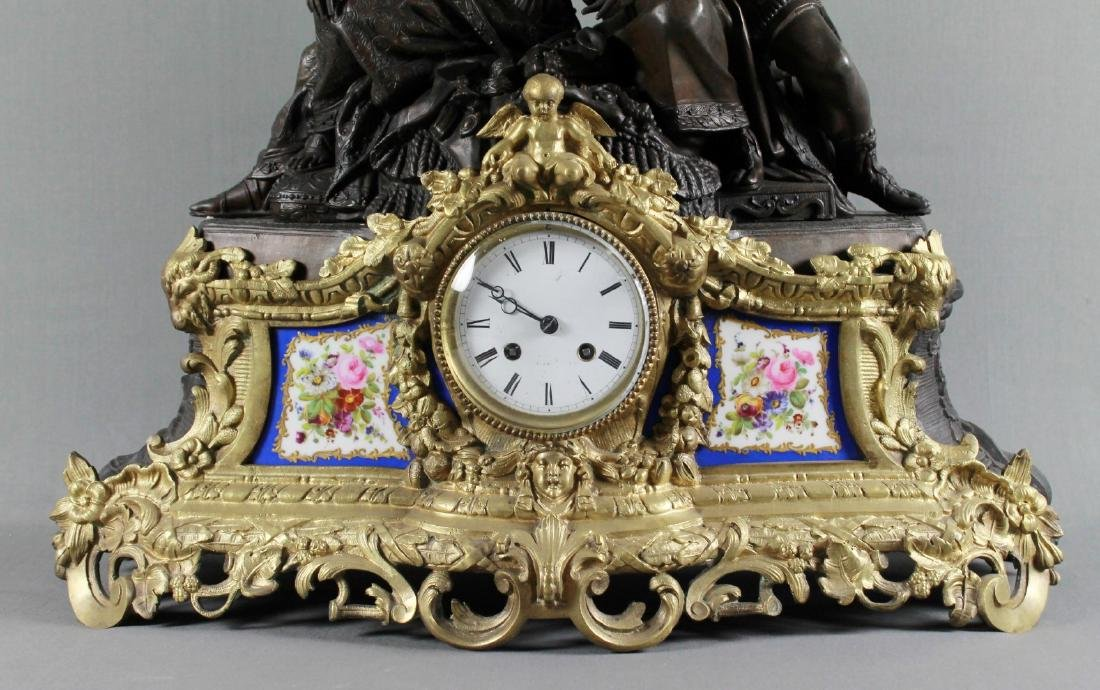 Stunning 19Th Cent French Bronze Sevres Porcelain Clock - 2