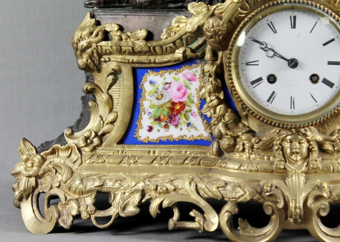 Stunning 19Th Cent French Bronze Sevres Porcelain Clock - 3