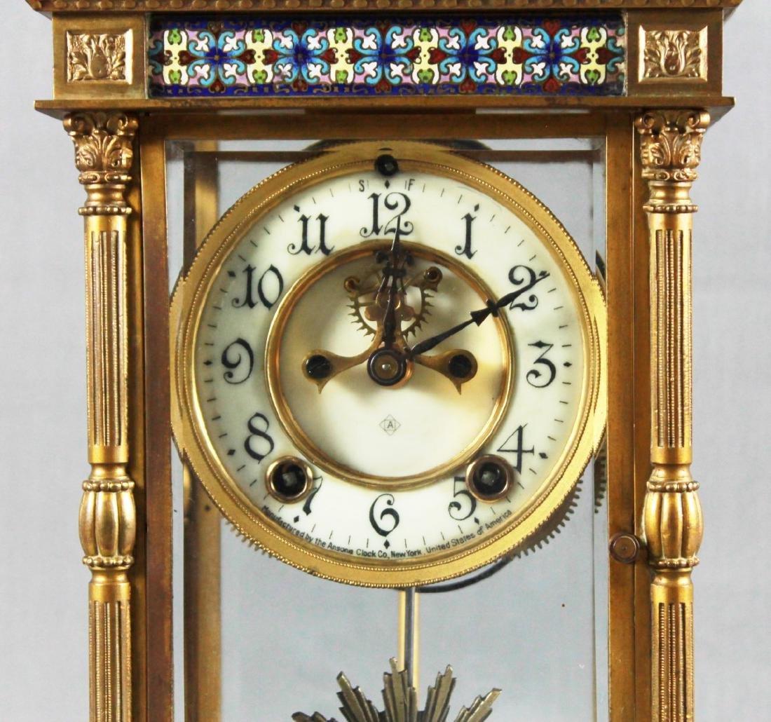 3 Pc. Champleve Clock Garniture Set - 3