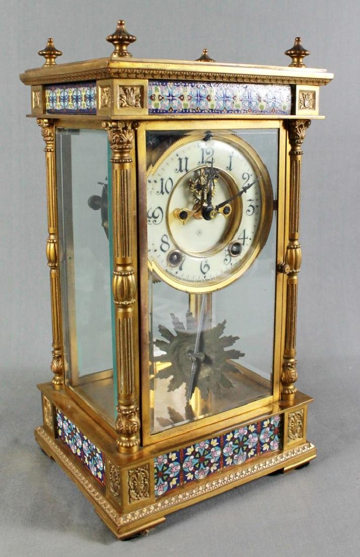 3 Pc. Champleve Clock Garniture Set - 5