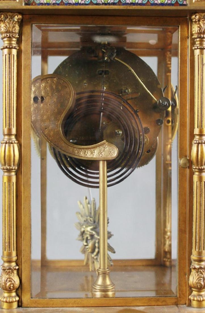 3 Pc. Champleve Clock Garniture Set - 6