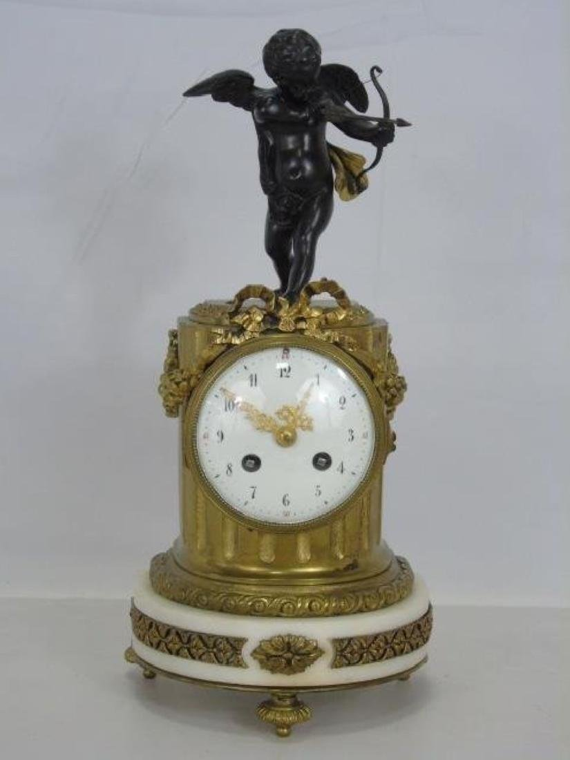19Th C. French Bronze & Marble Thieble Mantle Clock