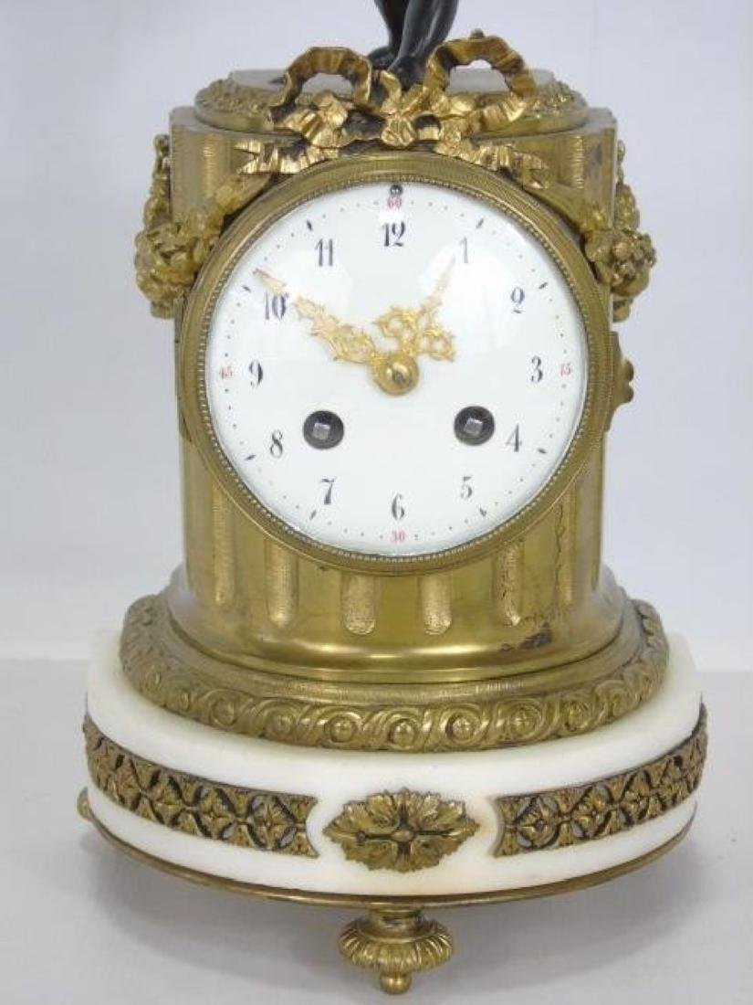 19Th C. French Bronze & Marble Thieble Mantle Clock - 6