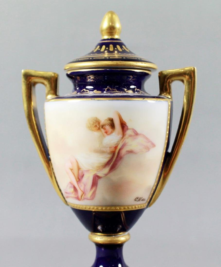 Pair Of Royal Vienna Porcelain Covered Urns - 2