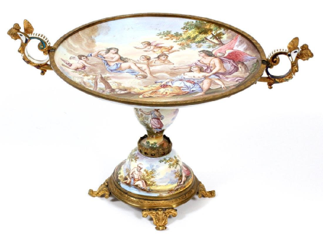 Continental Hand Painted Porcelain Tazza