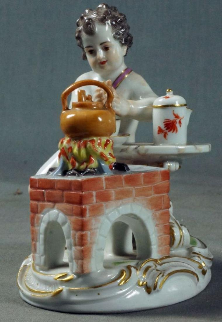 Antique Meissen Figurine Boy Seated At Stove - 2