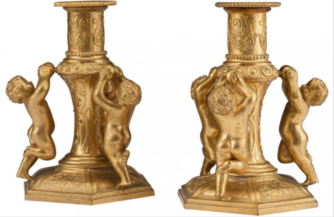 A Pair Of Continental Gilt Bronze Figural Candles - 2
