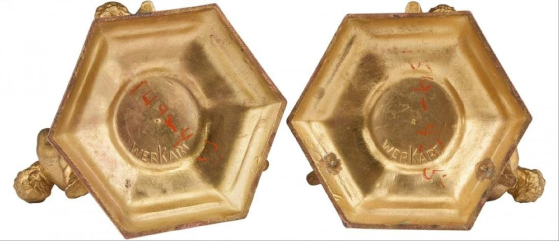 A Pair Of Continental Gilt Bronze Figural Candles - 3