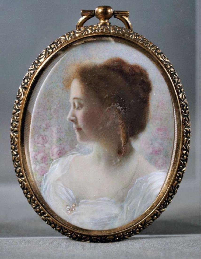 Oval Locket Portrait On Composite Or Bone