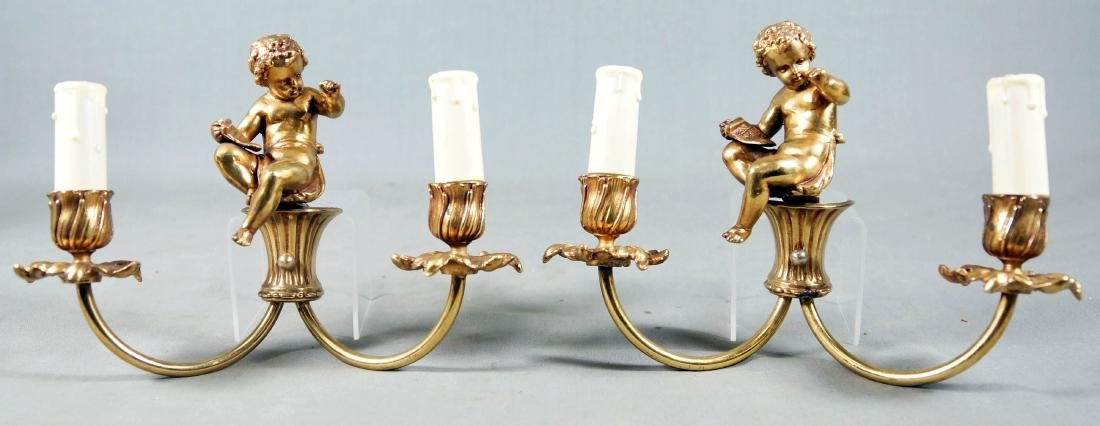 Pr. Of French 2 Light Bronze Sconces W/Cherubs