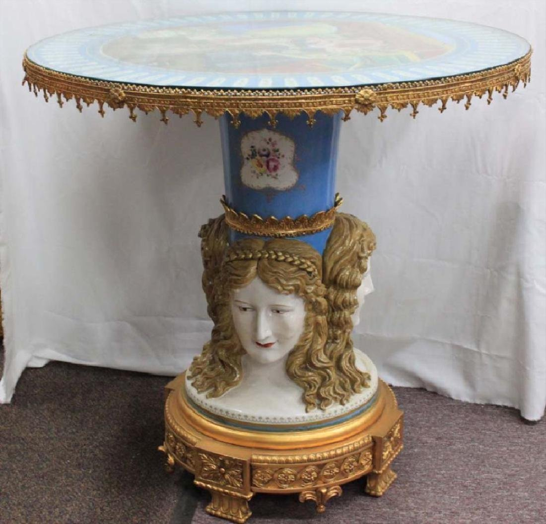 Sevres Style Gilt-Metal Mounted Porcelain Center Table