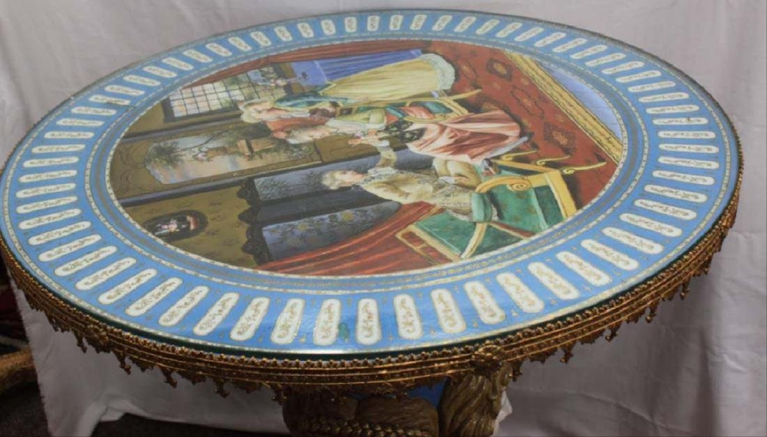 Sevres Style Gilt-Metal Mounted Porcelain Center Table - 2