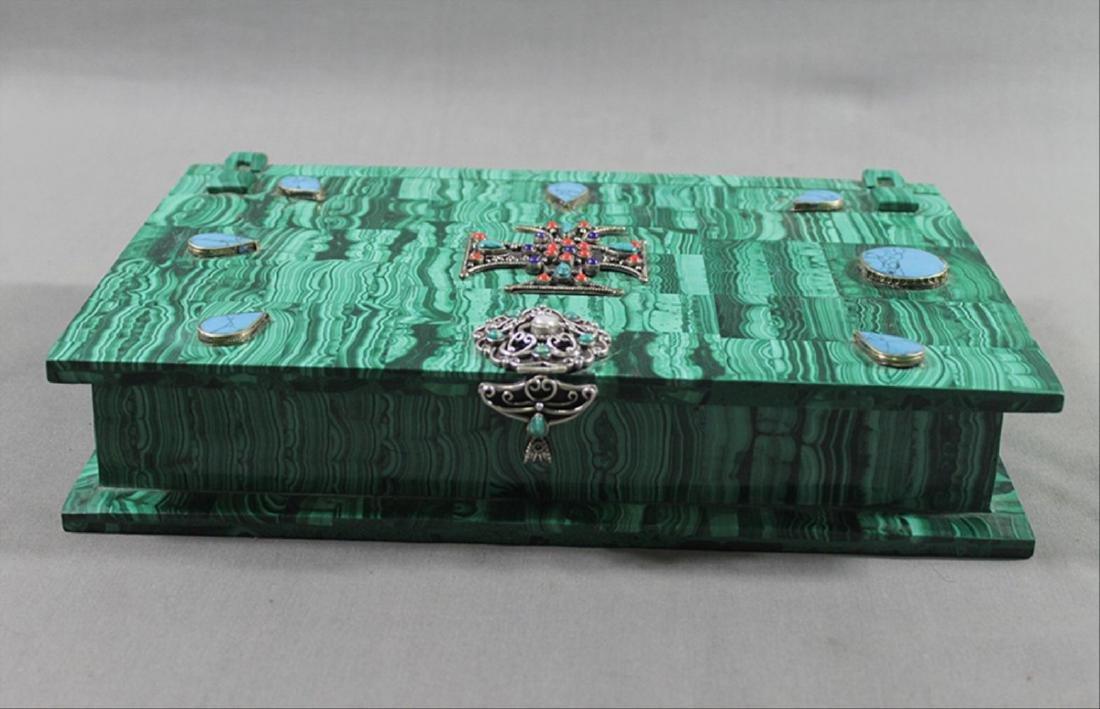 Russian Malachite Jeweled Box - 2