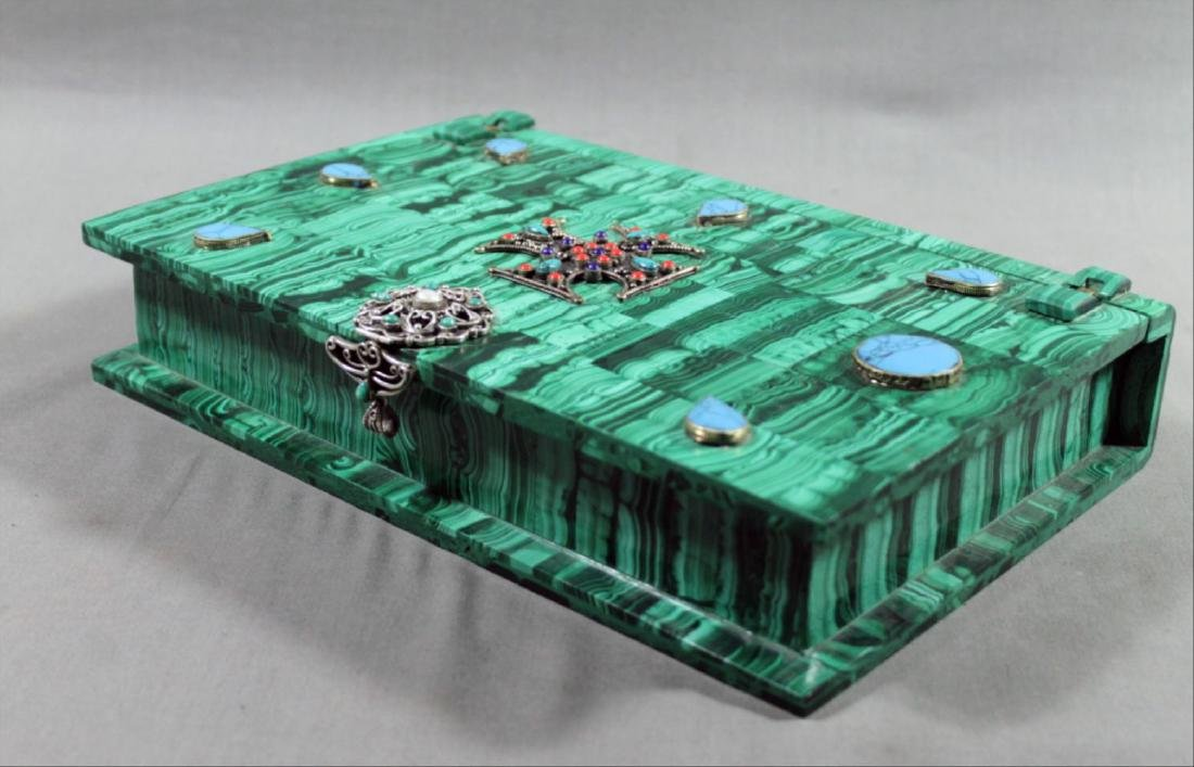 Russian Malachite Jeweled Box - 3