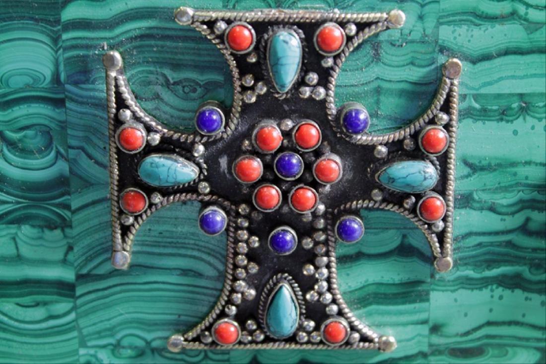Russian Malachite Jeweled Box - 4