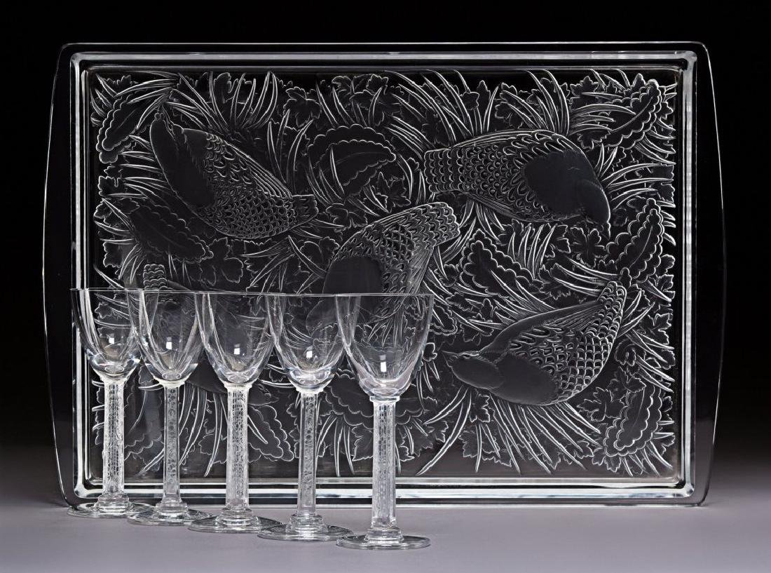 Five Lalique Clear and Frosted Glass Phalsbourg