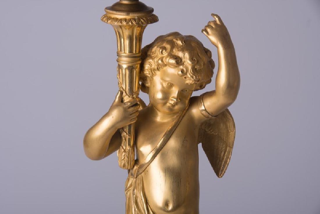 Pair Ormolu Gilt-Bronze And Marble Figural Candelabras - 2