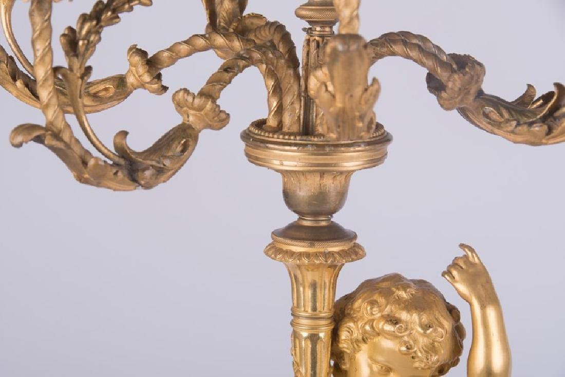 Pair Ormolu Gilt-Bronze And Marble Figural Candelabras - 6